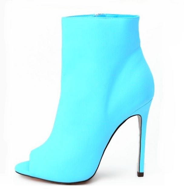 Hot Selling Blue Socks Ankle Boots Peep Toe Stretch Fabric High Heels Womens Ankle Boots Shoes Fluorescence Color Runway BootieHot Selling Blue Socks Ankle Boots Peep Toe Stretch Fabric High Heels Womens Ankle Boots Shoes Fluorescence Color Runway Bootie