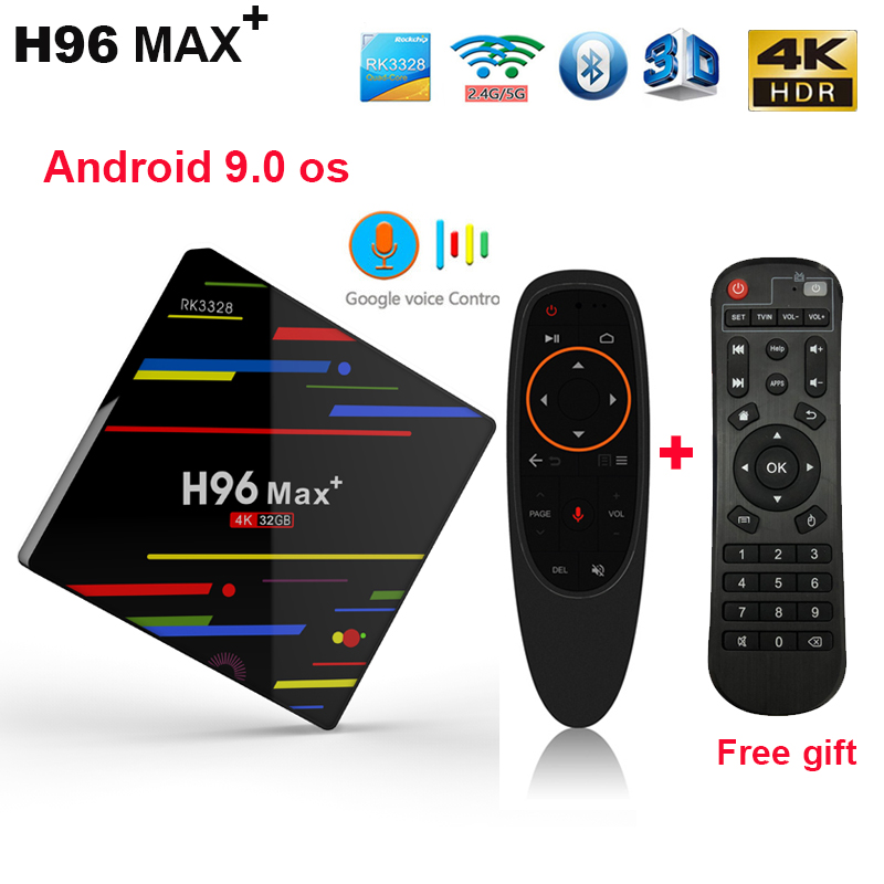 Android 9.0 H96 MAX Plus TV BOX RK3328 4G 32G 4G 64G 4 K 1080 P BT4.0 2.4/5G wifi smart TV BOX H96 Max + android décodeur
