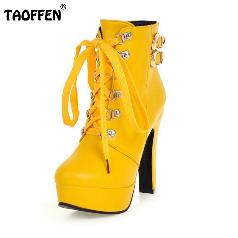 Autumn Winter Women Round Toe Ankle Boots High Heels Lace Up Shoes Double Buckle Platform Short Martin Booties Size 33-43 стоимость