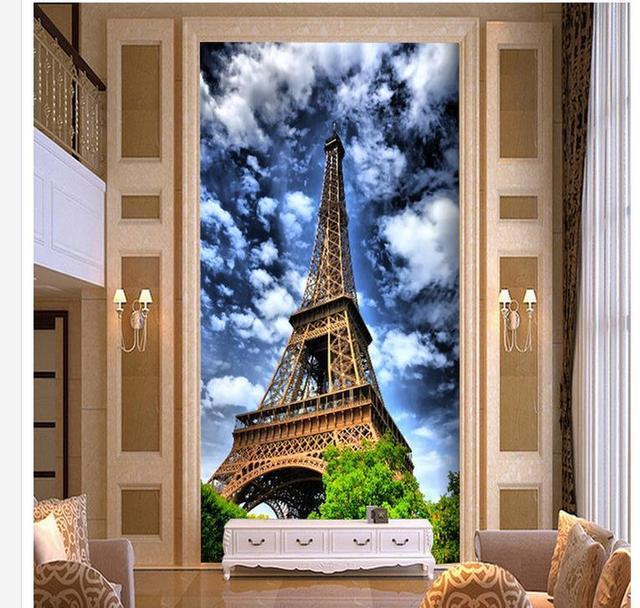 papier peint pour 3d tour eiffel hall d 39 entr e peinture d corative photo 3d papier peint. Black Bedroom Furniture Sets. Home Design Ideas