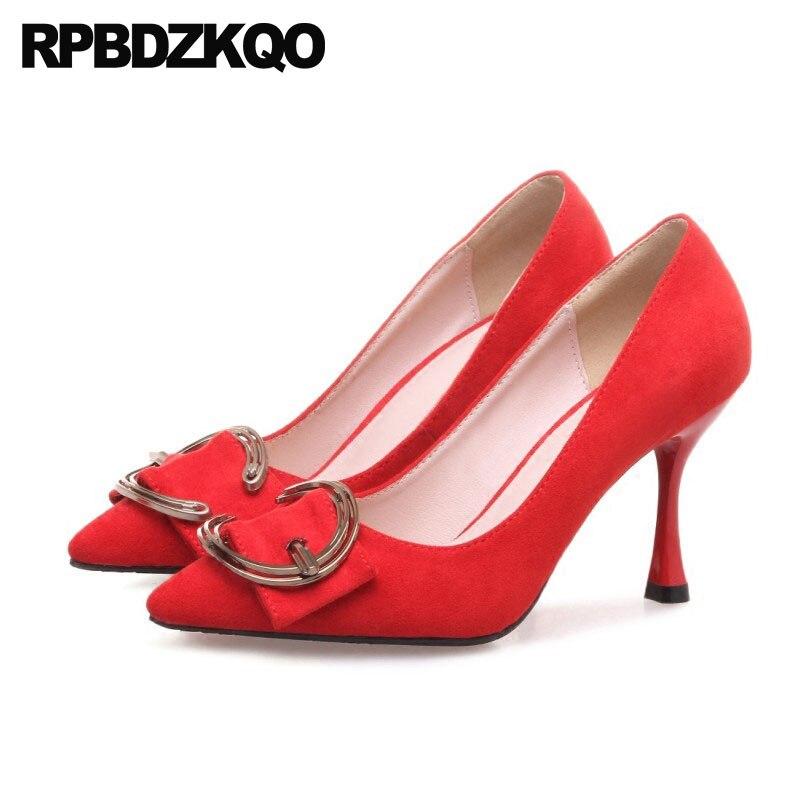 5960ee1609 Red Sexy Noiva Fina Camurça de Salto Alto Da Moda Senhoras Elegantes  Sapatos Amarelos Para O
