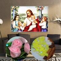 يسوع مع الأطفال نمط الرموز الدينية 5d اليدويه الماس اللوحة طقم شكل الماس التطريز عبر الابره خاصة جديدة