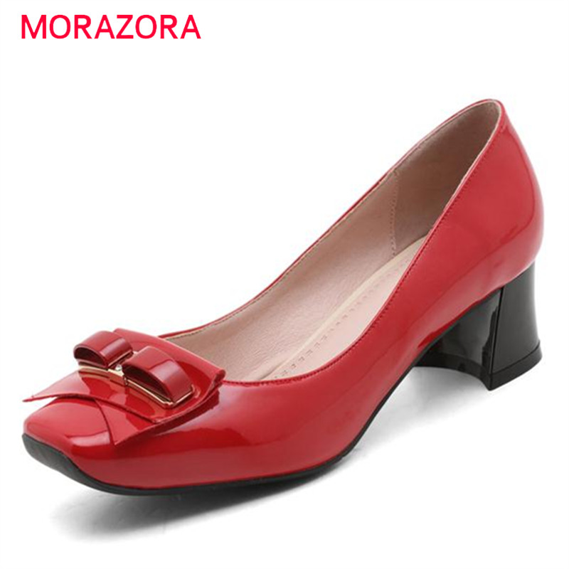 ФОТО MORAZORA Soft leather shoes women pumps college style bowtie med heels shoes shallow four seasons party shoes fashion sweet