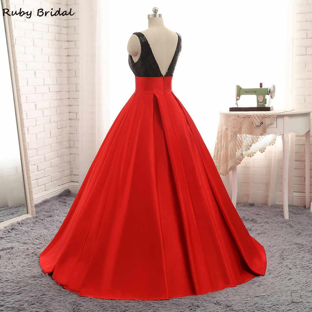 b77f8933985 ... Ruby Bridal 2017 Vestido De Festa Long Ball Gown Quinceanera Dresses  Red Satin Black Sequins Luxury ...