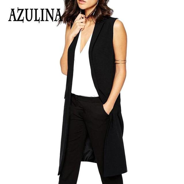 AZULINA Blazer Sem Mangas Colete 2017 Primavera Outono Mulheres Outwear Casaco Espinhel Casaco Bolso Longo Colete Feminino Preto