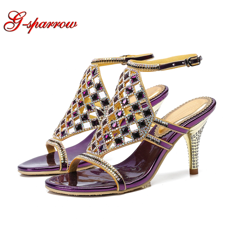 2a490cde82b 2019 Purple Crystal Summer Sandals Lady Weddding Party High Heels 3 Inches  Stiletto Heel Open Toe Rhinestone Prom Event Shoes