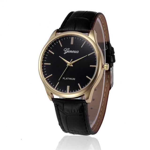 Simple Clock Wrist Watches For Women Leisure bayan kol Dial Black&Brown Leather Belt Quartz Ladies Watch Hour Reloj Mujer