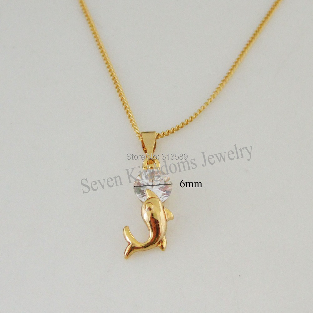 "Min Order 10$/- YELLOW GOLD OVERLAY FILLED BRASS 18"" NECKLACE & DOLPHIN CZ STONE PENDANT/Great Gift/ Money Maker(China)"