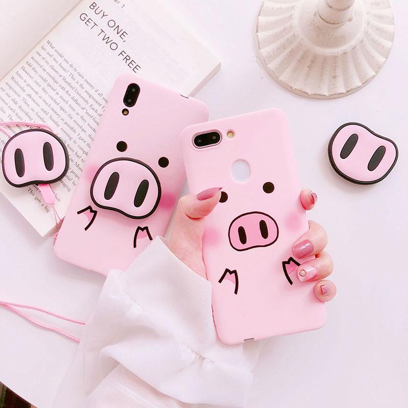Kawaii Pig phone Case & nose popsocket