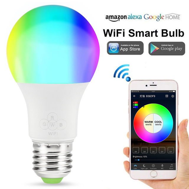 Wifi bombilla de luz inteligente Control remoto Wifi interruptor de luz Led cambio de Color bombilla funciona para IOS Android con Alexa google
