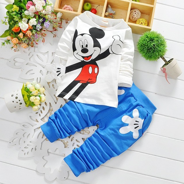 Fashion baby Cartoon clothing Suits Girls boys cartoon clothes baby  cotton shirts+pants 2pcs Children Clothing Set