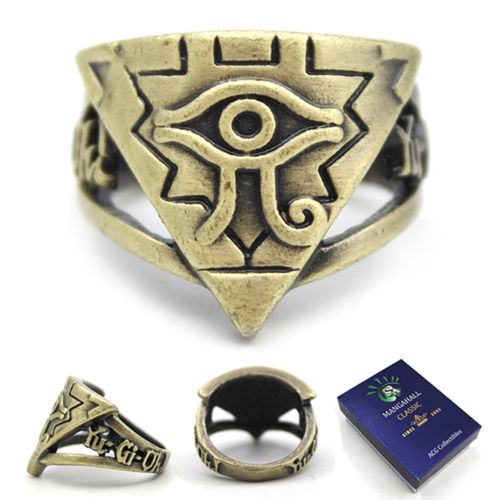 Giancomics Hot Anime Yu-Gi-Oh! Logo Matel Golden Ring Box Cosplay Finger Ring Handmade Unisex Costume Accessory Pendant Decor