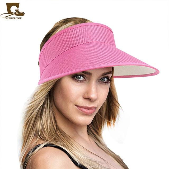4852f6dd3a926 Women empty Top sun hat fashion Summer Style hemp cap Plastic Sun Visor Hat