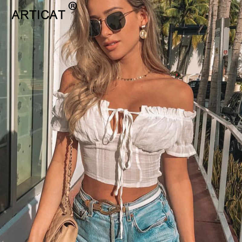 Articat Off Shouder Ruches Sexy Crop Top Vrouwen Strapless Lace Up Korte Slim Cropped Zomer Top Wit Casual Tank Top streetwear