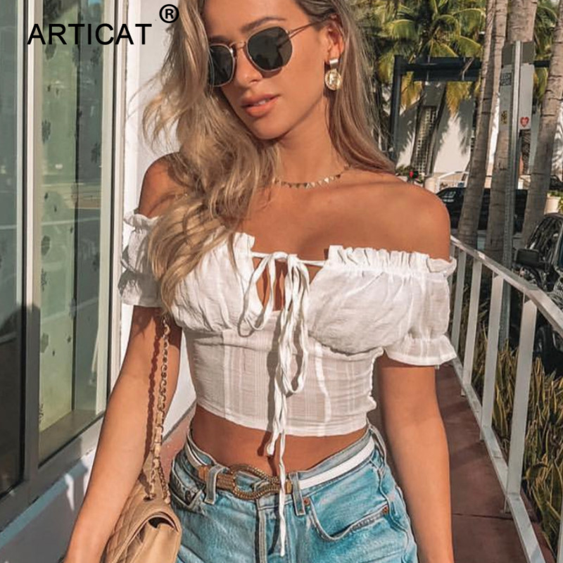 Articat Off Shouder Ruffles Sexy Crop   Top   Women Strapless Lace Up Short Slim Cropped Summer   Top   White Casual   Tank     Top   Streetwear