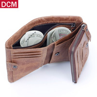Genuine Crazy Horse Leather Mens Wallet High Quality Male Card ID Holder Cowhide Cover Coin Purse Small Brand Credit&id Walets