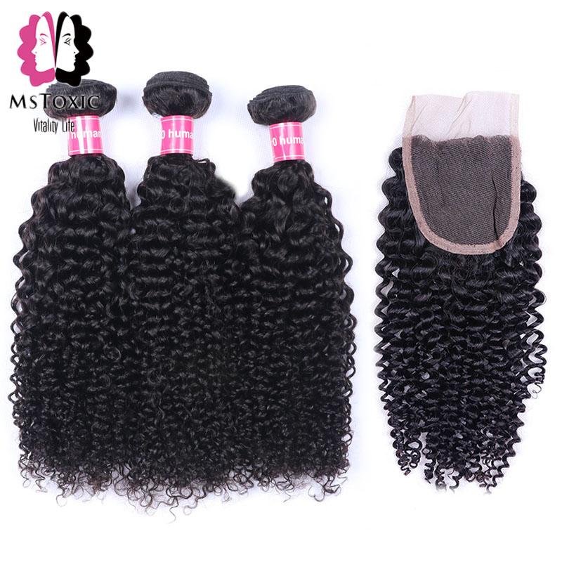 Mstoxic Malaysian Curly Hair With Closure 100 Human Hair Bundles With Closure Non Remy Hair Weave