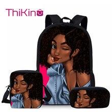 Thikin 3 PCS/SET  African American Girls School Bags for Bag Cartoon Book Children Backpack Custom Mochila