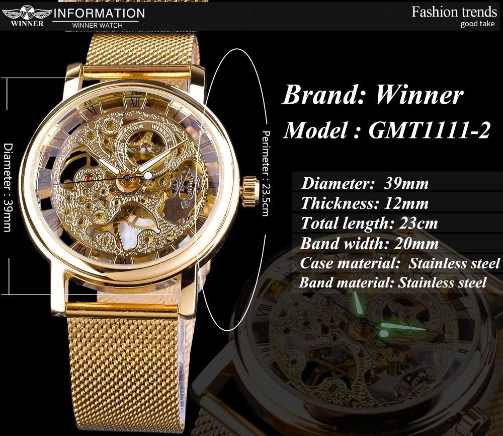 HTB182j3B2iSBuNkSnhJq6zDcpXaw Winner Thin Case Full Golden Design Retro Openwork Clock Mesh Band Men's Mechanical Watches Top Brand Luxury Luminous Hands