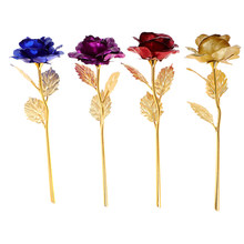 1set Lover Lighting Rose Dropshipping Valentine's Day Creative Gift 24K Foil Gold Rose Lasts Forever Love Wedding Decor(China)
