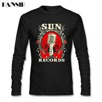Rockabilly Music Nuevo Diseño Camisetas Hombre de Manga Larga de Cuello Redondo Hombres del Algodón T Shirts Tamaño Asiático