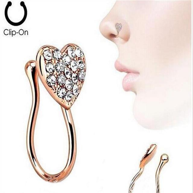 Stainless Steel Nose Rings Crystal Heart Fake Septum Piercing Gold