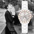 Sinobi ouro rosa da mulher genebra quartzo-relógio com diamante roupas famosa marca senhora designer de imitação de cerâmica relógio de pulso relógios