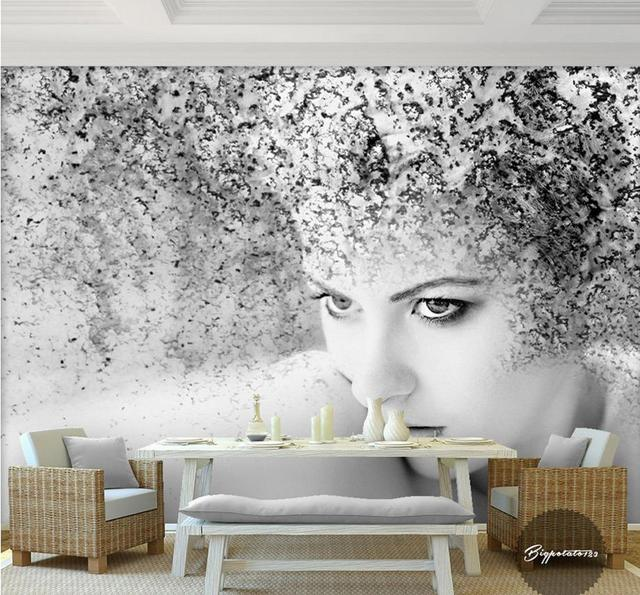 Us 13 74 49 Off 3d Black And White Wallpaper Custom Beautiful Art Charactersd Wallpapers Lfor Living Room Sticker Non Woven Wallpaper Roll In