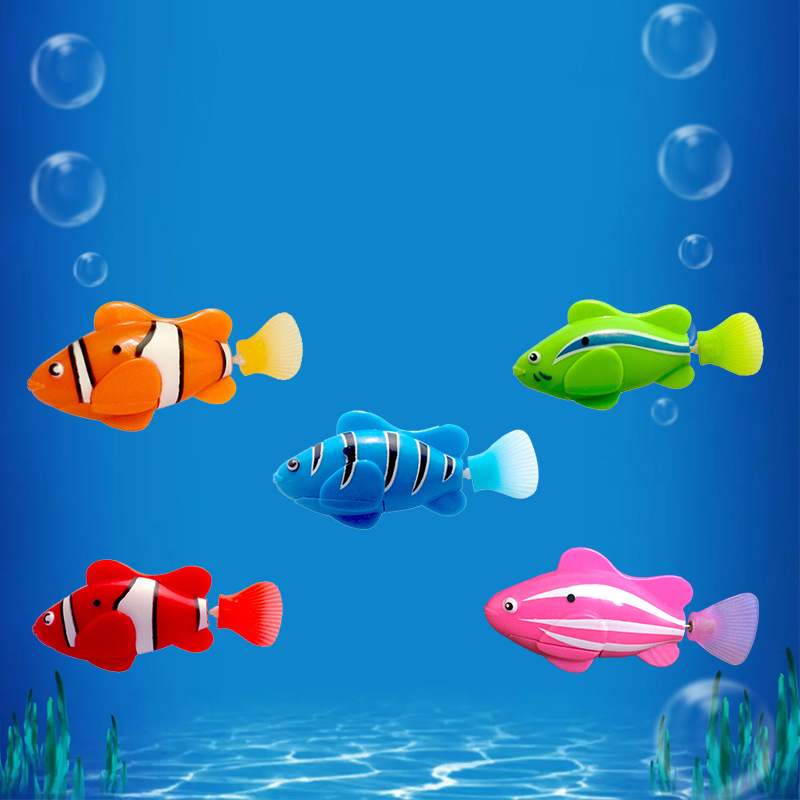 Electric Flash Swimming Fish With Light Machine Induction Fish Baby Play Pet Clown Fish Simulation Fish Bathroom Toys Children E