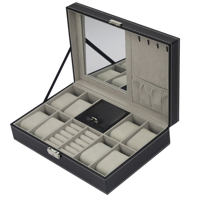 2/6/10/12 Girds Watch Box Organizer Holder Case Storage Leather/Carbon Fiber Jewelry Box for Earrings Rings Bracelet Display