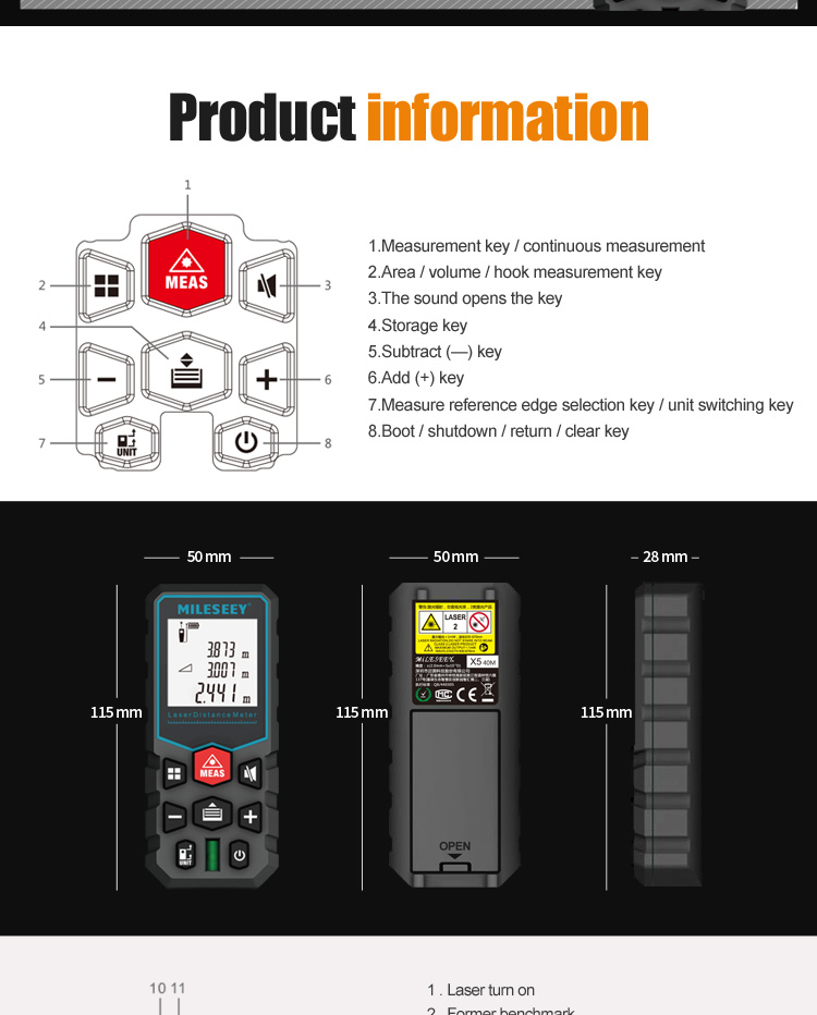 MiLESEEY Laser Distance Meter with Auto Laser Off and for Volume and Area Measurement 11
