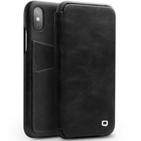 QIALINO leather case for iPhone X 10 with business card holder Slim flip case premium accessory cover for X