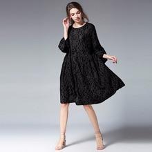 यूरोप और अमेरिका गर्भावस्था महिला आरामदायक कपड़े वसंत और गर्मी लूज फीता ड्रेस पगोडा आस्तीन बड़े आकार मातृत्व कपड़े