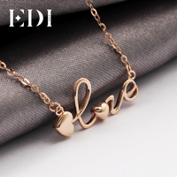 EDI Real Pure 18K Rose Gold Pendant Necklace Cute Heart Love Letter Words Pendant Jewelry Gift For Women