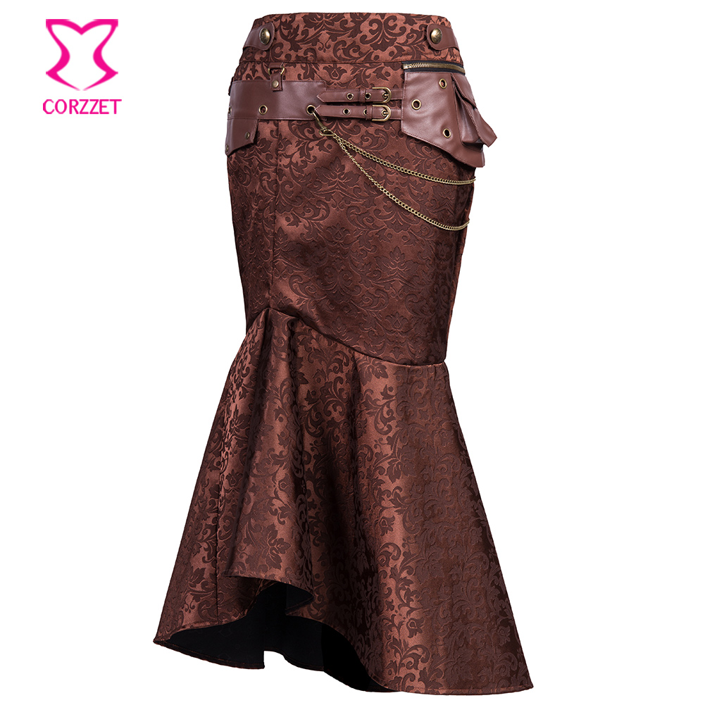 Vintage Victorian Brown Brocade High Waist Leather Belt Mermaid Long Skirt Plus Size Steampunk Gothic Skirt Women Maxi Skirts