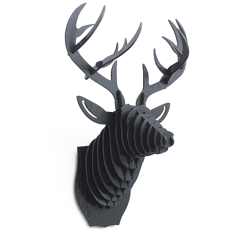 3D Puzzle Wooden DIY Creative Deer Head Wall-mounted Wood Gift Craft Home Decor Murals Nordic Deer Animal Head Wall Decoration