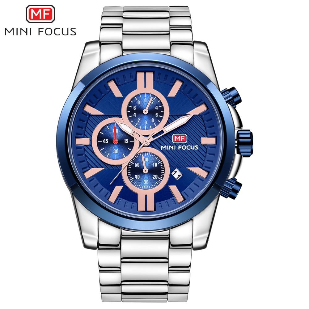 лучшая цена MINIFOCUS Top Brand Business Watches 2018 New Fashion Casual Men Wristwatch For Male Multifunction Stainless Steel Quartz Clock