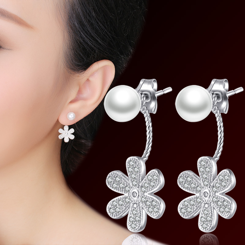 Pearl silver stud earring anti-allergic 925 pure silver earrings fashion accessories brief neckband stud earring elegant female