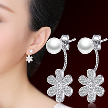Pearl silver stud earring anti-allergic 925 pure silver earrings fashion accessories brief neckband stud earring elegant female(China)