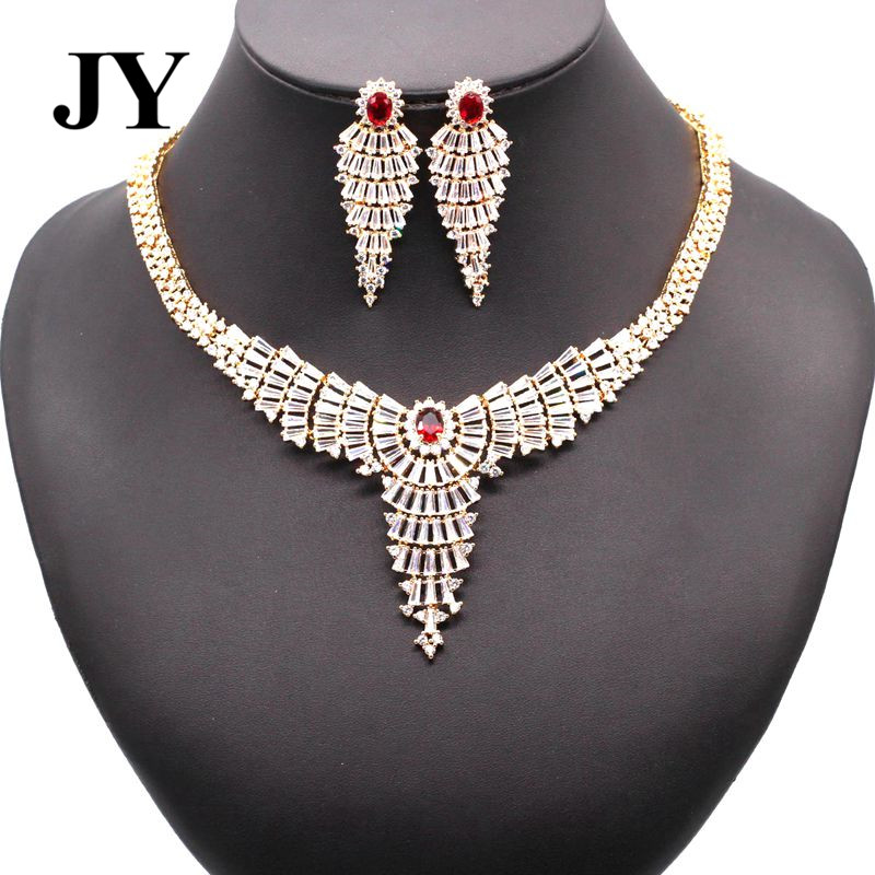 JY New Fashion Gold Color Luxury jewelry Set For Women Best Love Gift For Friend Charm Vintage Necklace Party Elegant Earring