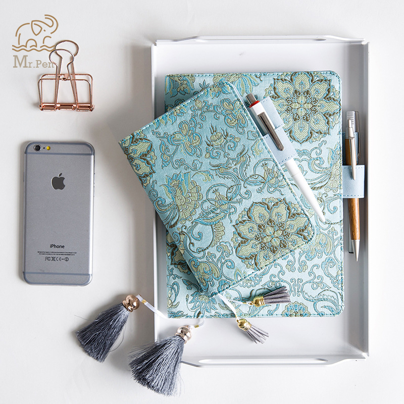 Retro Fabric Sky Blue Flower Notebook Schedule Journal Diary Cover A5 A6 Planner Tassel Notebook Case Time Management Notebook