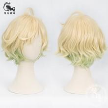 Sinoalice peluca Cosplay Alice Pinocho rizado Rubio cabello corto verde  gradiente de colores b426ddb046d8