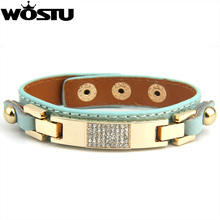 Aliexpress Hot Sell Genuine Leather Alloy Bracelet With Crystal Fashion Jewelry for Women and Men Best Gift Christmas PI0305