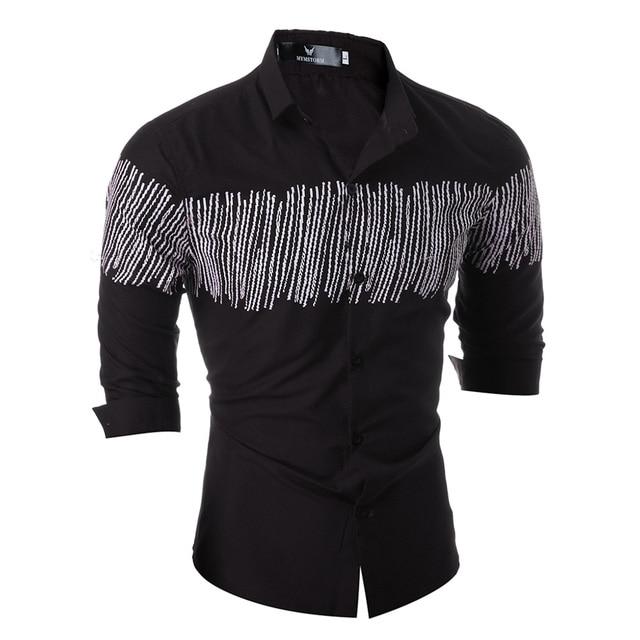 Fashion Men Shirt Autumn Long Sleeve Tops High Quality Striped Mens Casual Shirt Slim Fit Chemise Social Shirt 2017 Plus Size