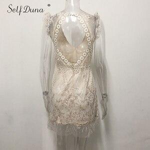 Image 4 - Vestido de verano 2019 para mujer de Self Duna, Mini vestido de fiesta bodycon sensual de Espalda descubierta, Vestido corto con volantes de malla de lentejuelas doradas