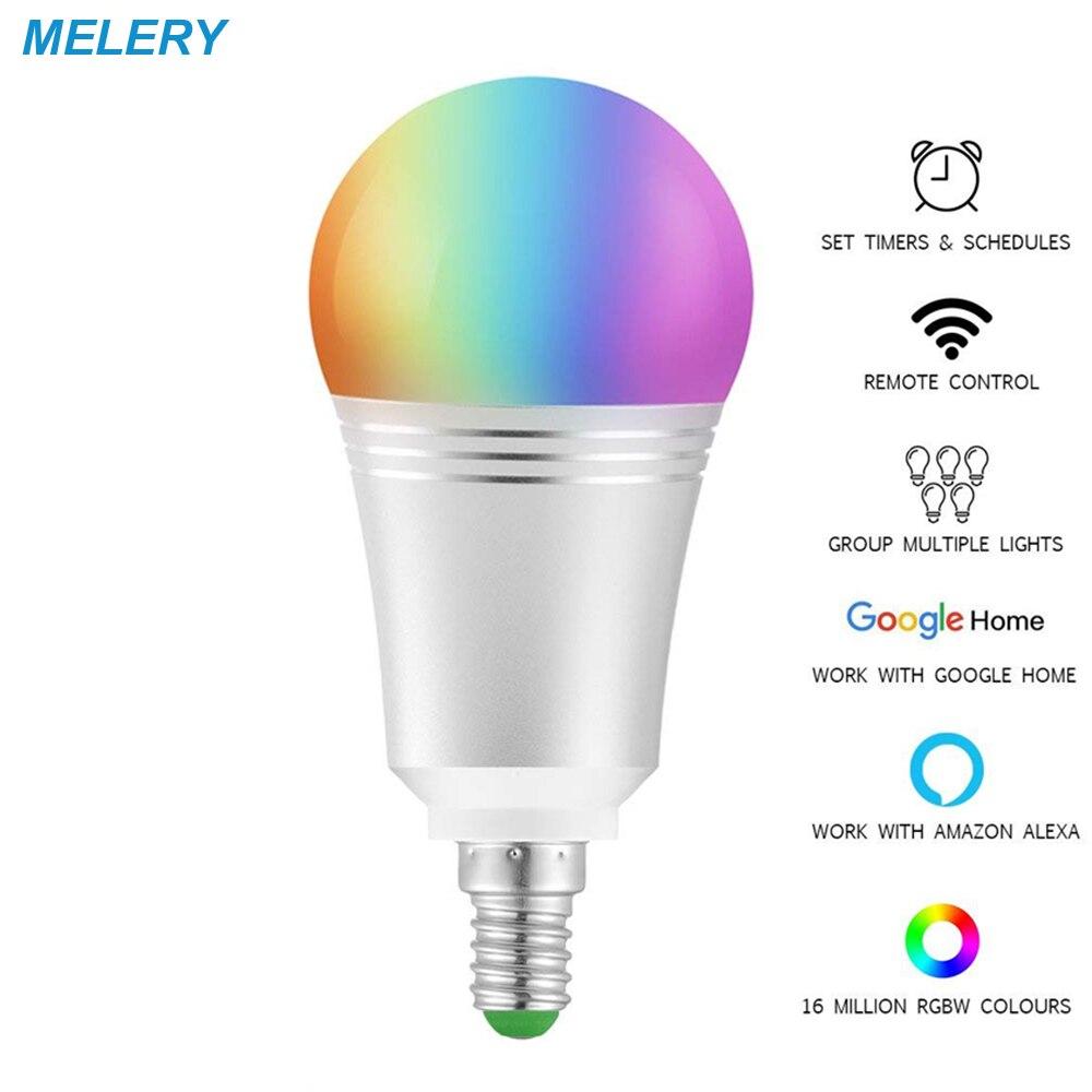 WiFi Smart Bulb LED Lamp 7W 6000K E14 Colour Dimmable 60W Equivalent Remote Control Voice Control by Amazon Alexa Google Home