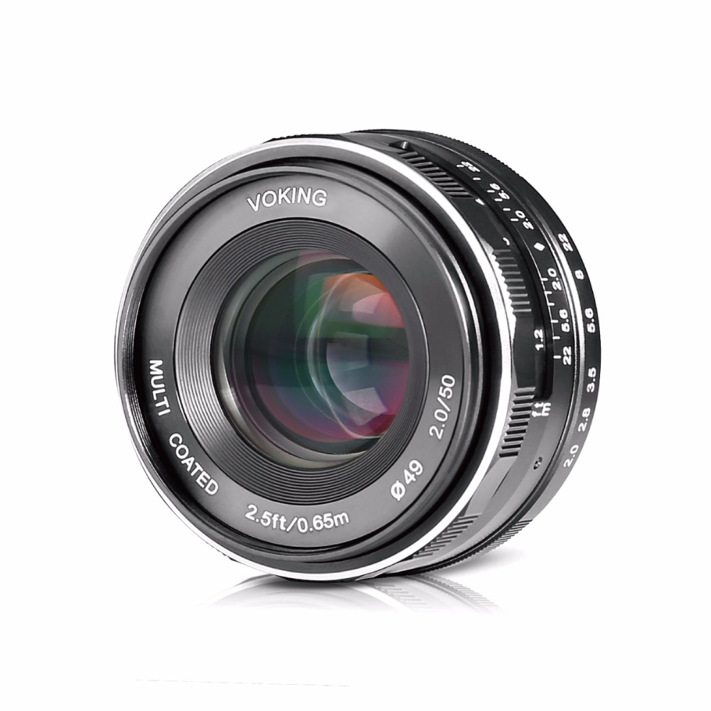 Voking VK-E-50-2.0 50mm f/2.0Fixed Manual Focus Lens for Sony E mount Mirrorless Camera a6300/a6000/a5100/a5000/NEX7/6/5/3+Gift
