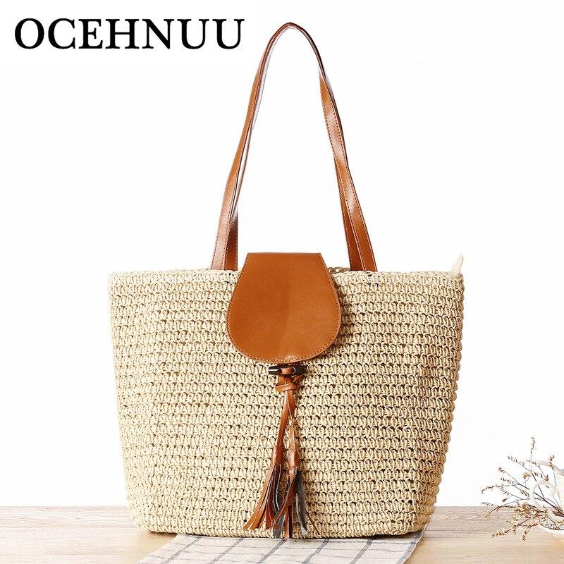 OCEHNUU летние плетеные соломенные сумки пляжные сумки для женщин большой моды Bolsos Mujer однотонные-кросслок, модная дорожная сумка для женщин, с...