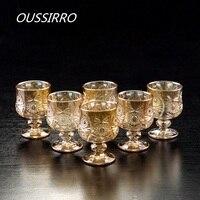 OUSSIRRO 6 шт./компл. креативный водочный винный коньяк Snifters, Золотой Кубок, гравировка, стекло, высокое настроение, белое вино, стекло, домашний, ...