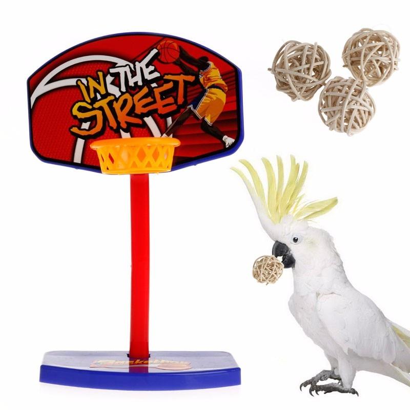 Pet Bird Chew Toys Parrot Parakeet Basketball Hoop PropTrick Prop+ 3pcs Balls C42